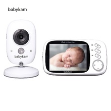 Babykam video baby sitter 3.2 inch IR Night vision 2 way talk 8 lullabies Temperature monitor baba electronics radio baby sitter(China)