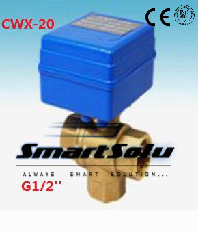 Free Shipping CWX-20 Brass 1/2 Mini Electric Ball Valve 3 Way 12V Water Treatment Control type CR01 or CR02<br><br>Aliexpress