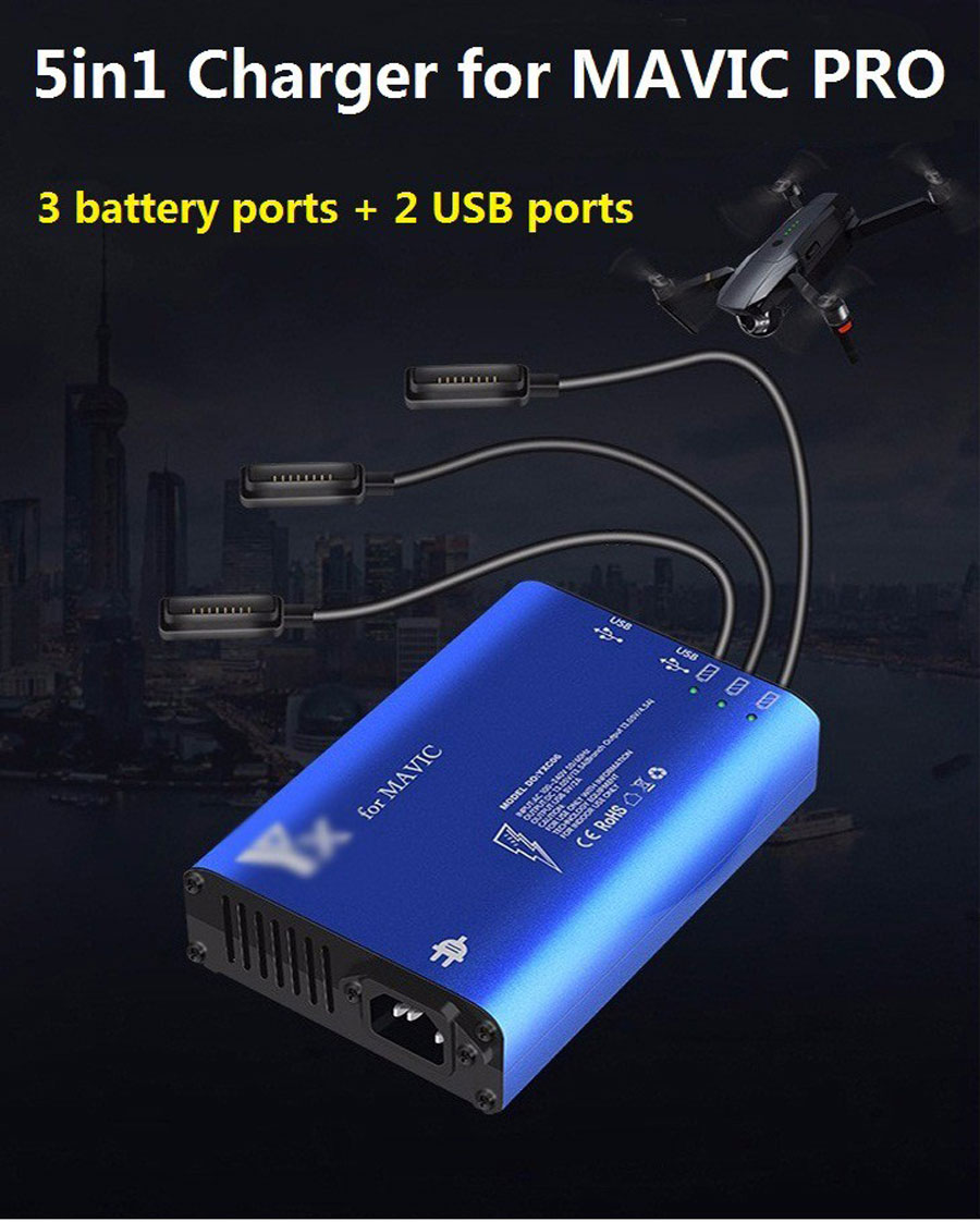 5in1 Mavic pro Battery Charging USB Charger Battery Parallel RC Smartphone for DJI MAVIC PRO
