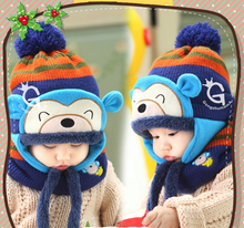 Lovely Monkey Hats Baby Caps Kids Aviator Hat Bomber Winter Cap Children Warm All For Children Clothing And Accessories