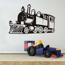 Free Shipping Creative Wall Decor Vinyl Hollow Out Steam Train Wall Stickers Boys Room Silhouette Self Adhesive Transportation(China)