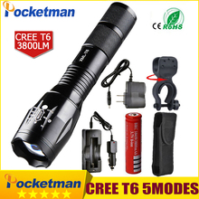 Newest 100% Authentic 3800 Lumens 5-Mode CREE XM-L T6 LED Flashlight Zoomable rechargeable Focus Torch by 1*18650 or 3*AAA zk92(China)