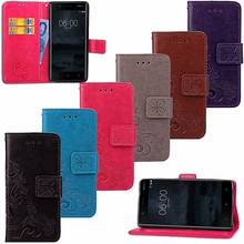 Lucky Clover 3D Embossed Wallet PU Leather Case Cover For Nokia 3 5.0inch Flip Stand Cell Phone Bag Cover Case(China)