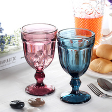 4 pcs set 470ml Multicolour relief vintage red wine cup hanap household fashion assorted color footed goblets(China)