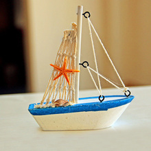 Mediterranean Wooden Sailing Ship Handmade Carved Model Boat Home Nautical Micro Landscape Garden Miniature Craft Home Decor New(China)