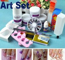 stylish DIY Nail Acrylic Set Kit with Powder / Liquid / Glue / Forms/Brush Full Nail Tool,crystal
