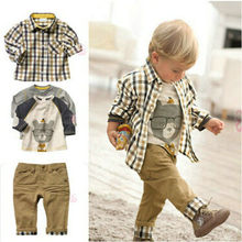 3Pcs Toddler Baby Boys Dress Coat + Shirt +Denim Pants Set Kids Clothes Outfits