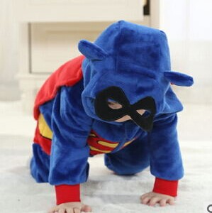 Free shipping new Spring flannel baby Superman style romper baby kids climb clothes A378<br><br>Aliexpress