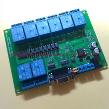 Free shipping 8 way RS232 485 serial port relay control board (MODBUS version) computer control relay module(China)