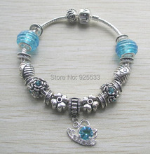 Free shipping 2014 new design 16-21cm light blue glass charms football big hole beads butterfly pendant European bracelet