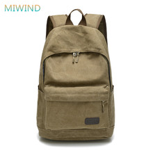 MIWIND Men Male Canvas College Student Schoolbags For Teenagers Casual Rucksacks Travel Bag Laptop Backpack Women Mochilas CB233