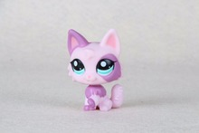 New pet Genuine Original LPS #2100 Purple Pink Wolf Cat Kitty Long Hair Toys(China)