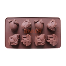 cake decorating tools DIY silicone chocolate mold 8 lattices vehicle car ferry design candy molds SICM-008-7(China)