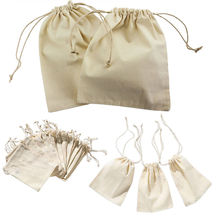 10pcs Small Burlap Natural Linen Sack Jewelry Pouch Drawstring Gift Boxes & Bags
