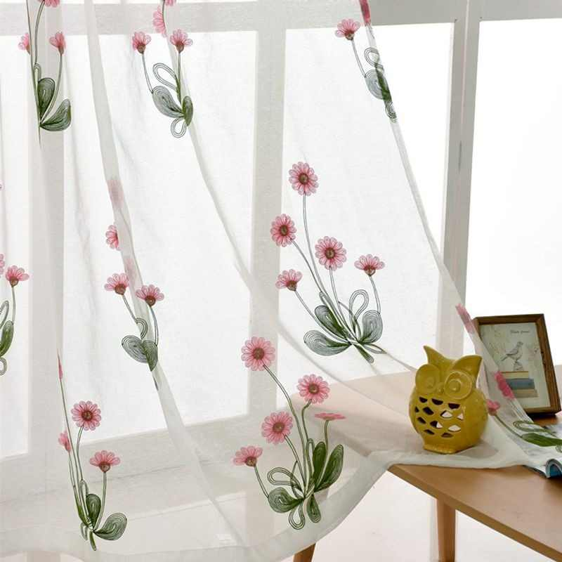 Pastoral Sweet Pink Sunflower Embroidery Window Curtains For Living Room Window Screen Sheer Tulle For kitchen Drapes  DF013-40