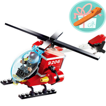 Wholesale Price!!! Toys For Children 91Pcs Fire Fighter Helicopters Building Blocks Helicopter With Firemen Brinquedos+With Gift
