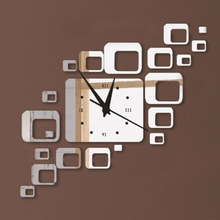 Hot Sale direct selling led acrylic wall clock squares Quartz mirror Modern home decoration diy stickers