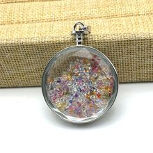 Drop Shipping Brass Metal Pendant Glass Bottle Pendant Necklace Silver Color DIY Wishing Box Pendant with Color Stones