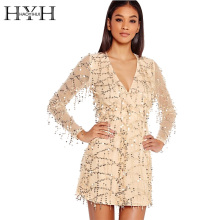 HYH HAOYIHUI Women Dress Sexy Sequin Gold Deep V Neck Long Sleeve Female Mini Dress High Waist Party Club Dress Vestidos(China)