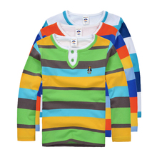 Top quality boys girls clothes for kids toddler big boy clothing children long sleeve cotton spring autumn striped polo shirt(China)
