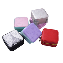 1PCS Mini Portable Leather Jewelry Case With Mirror Cosmetic Makeup Organizer Earrings Casket Travel Storage Box Best Gift