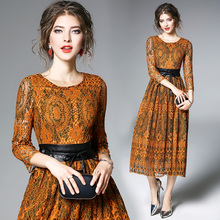 Buy Women Spring Fashion O- Neck Flower Lace Patchwork Dress Elegant Vintage Hollow Slim Party Dress Vestidos for $29.03 in AliExpress store