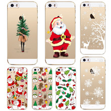 Cute Christmas Case For iPhone SE 5 5S Back Cover Soft Silicone Santa Claus Christmas tree snowflakes Design New Year Gift Capa