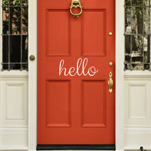 DCTOP Hello Door Vinyl Wall Sticker Front Door Decal Home Decor Removable Wallpaper Bedroom Baby Kids Living Room(China)