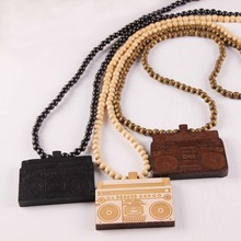 Free shipping Radio Pendant Good Wood Hip-Hop Wooden Fashion Necklace 3 colors Mixed(China)