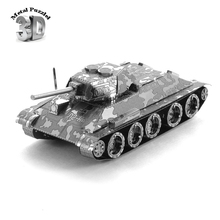 3D Metal Puzzles Miniature Model DIY Jigsaws Remote Car Silver Model Educational Toys Gift for Kids The Soviet Union T34 Tank