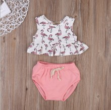 newborn infants clothing sets swan print tops + pink shorts two pieces cotton baby girls suits fashion toddler outfits costumes