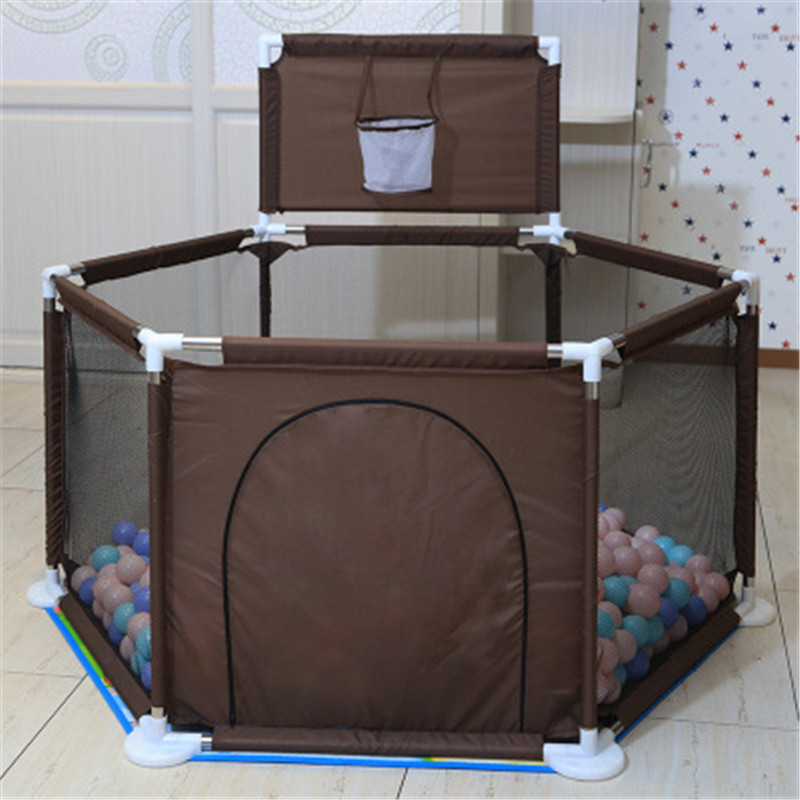 Activity & Entertainment Activity & Entertainment Boys Girls Safety Play Center Yard Portable Folded Toddlers Baby Indoor Outdoor Home Activity Area Brown Fence 6 Panel