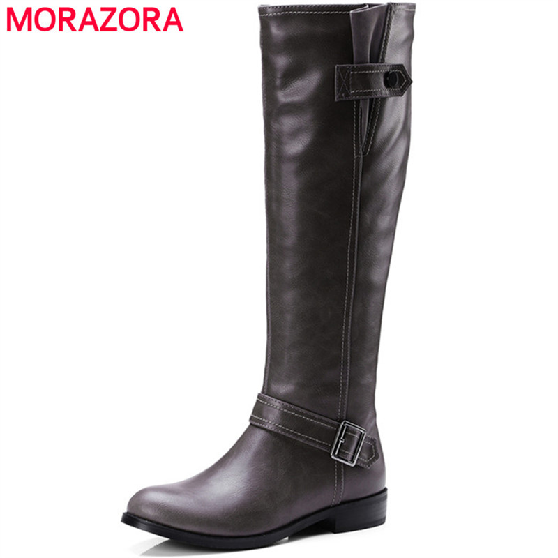 MORAZORA Large size 34-43 PU soft leather women shoes knee high boots low heels shoes woman fashion boots solid autumn<br>