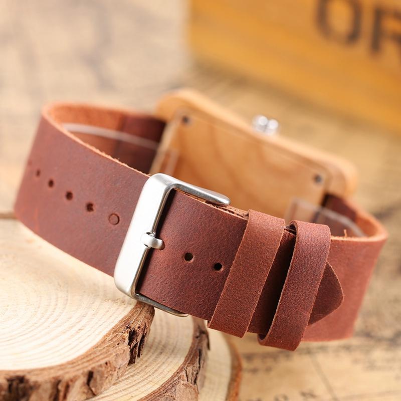 Creative Rectangle Dial Wood Watch Natural Handmade Light Bamboo Fashion Men Women Casual Quartz Wristwatch Genuine Leather Gift 13
