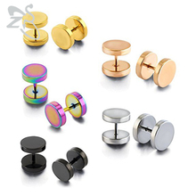Double stud earrings men ear studs stainless steel earrings stud small metal female male earrings for women fake ear plug gold