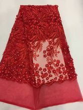African lace fabric red 2017 Best Quality Beaded 3 D Chiffon Lace Fabric French Net Lace Fabric Wedding Dress 5 yards(China)