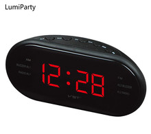 LumiParty New Fashion Modern AM/FM LED Clock Radio Electronic Desktop Alarm Clock Digital Table Clocks Snooze Function