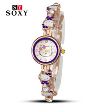 Hello Kitty Watch ladies women fashion casual wristwatch quartz relogio feminino female watches cartoon luxury hot sale clock