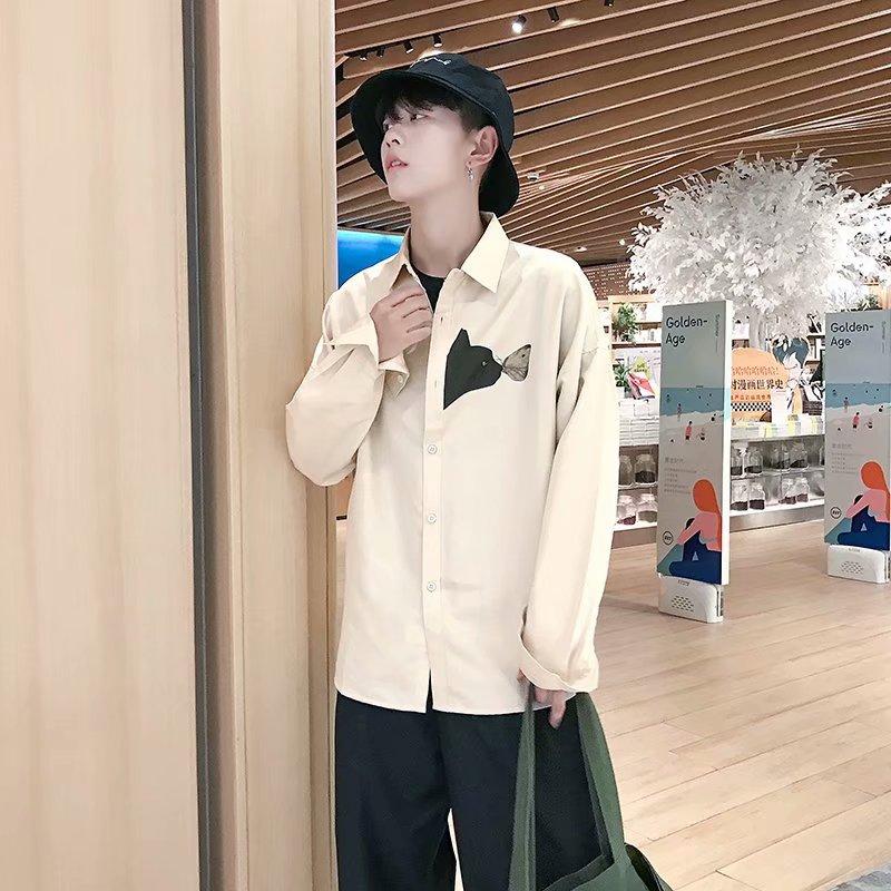 Shirts Men Turn-down Collar Plaid Simple All-match Loose Pockets Leisure Trendy Shirt Mens Ulzzang Korean Style Clothing Chic 44