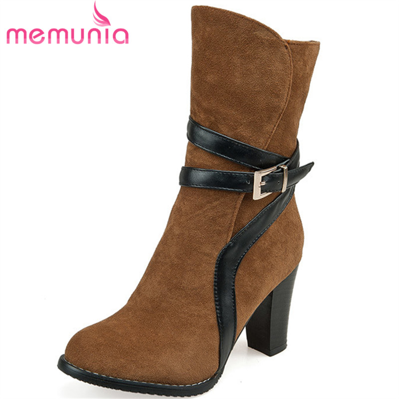 MEMUNIA Large size 34-46 autumn boots pu leather fashion  women shoes thick high heels round toe platform ankle boots<br>