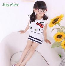 Summer cartoon cat baby clothing set of cute point short sleeve shirt and skirt for the girl baby clothes for children
