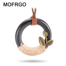 MOFRGO Natural Wood Pendants Necklaces Brass Leaves With Hemp Rope Handmade Vintage Chinese Style Ladies Necklaces Jewelry(China)
