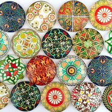 ZEROUP 25mm round photo glass cabochon mixed pattern fit cameo base setting for jewelry flatback 20pcs/lot TP-168