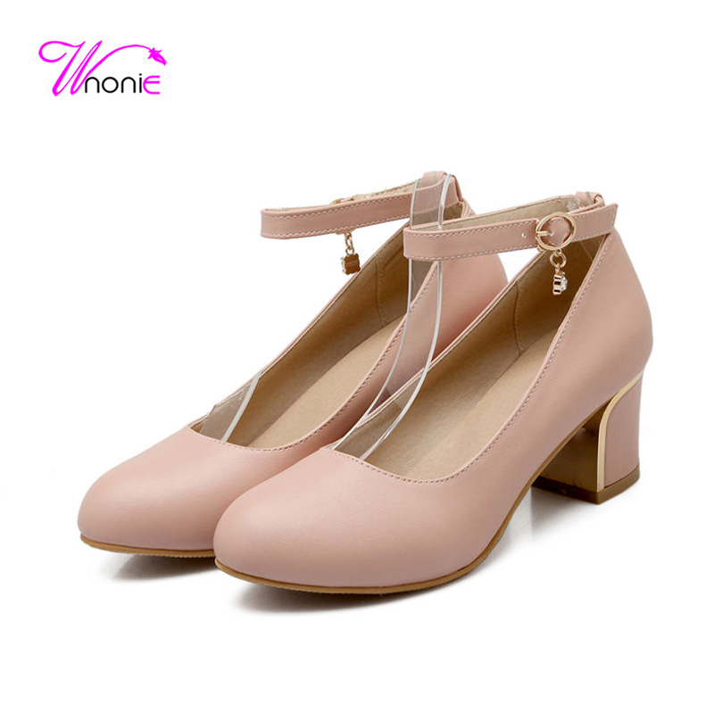 2017 Women Pumps Female Ladies Pumps Square Block High Heel Shoes Round Toe PU Leather Ankle Strap Dress Party Office Shoes  <br><br>Aliexpress