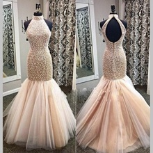 Luxury Pearl Champagne Colored Prom Dresses Mermaid 2017 Robe De Bal De Finissant Dress Party Evening Turkish Long Evening Gowns(China)