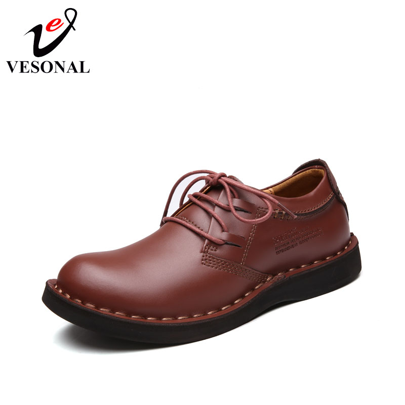VESONAL Handmade Genuine Leather  Work Casual Male Shoes For Men Adult Quality Designer Comfortable Driving Footwear Spring 2018<br>
