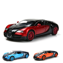 1:32 Alloy Diecast Collectible Bugatti Veyron Model Car Toy with Pull Back/ Flashing/ Sound Mini Car Kid Toys Gift for Children