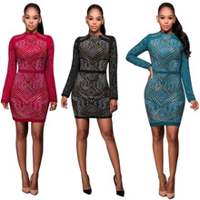 Europe and the United States women's new sexy dress with long sleeves in the fall and winter hot drilling nightclub mini dress(China)