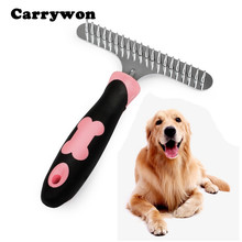 Carrywon Dog Rake Deshedding Comb Grooming for Dogs Cats Matted Long Hair Brush for Shedding Double Row of Stainless Steel Pins(China)
