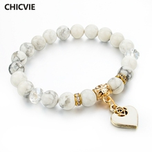 CHICVIE Heart Charm Bracelets Bangles White Natural Stone Bracelet For Women Pulseiras Boho Jewelry Christmas Gifts SBR150344